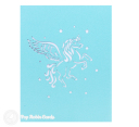 Prancing Unicorn In Clouds Handmade 3D Pop Up Card #3211