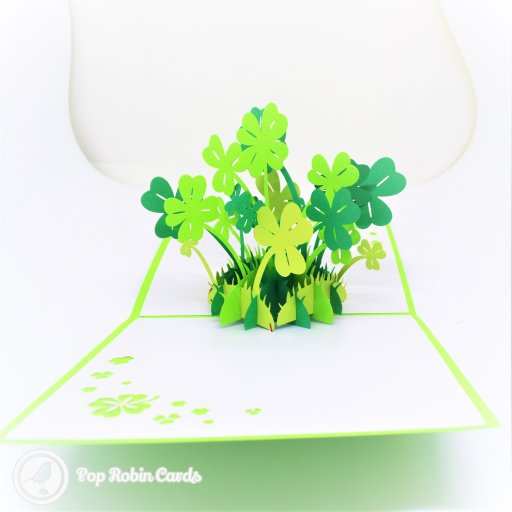 Lucky Four-Leaf Clover Handmade 3D Pop-Up Card #2733