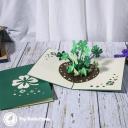 Lucky Four Leaf Clover Patch 3D Pop Up Good Luck Card #3767