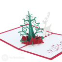 Magic Christmas Tree And White Reindeer3D Pop Up Handmade Card #3513