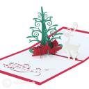 Magic Christmas Tree And White Reindeer3D Pop Up Handmade Card #3514