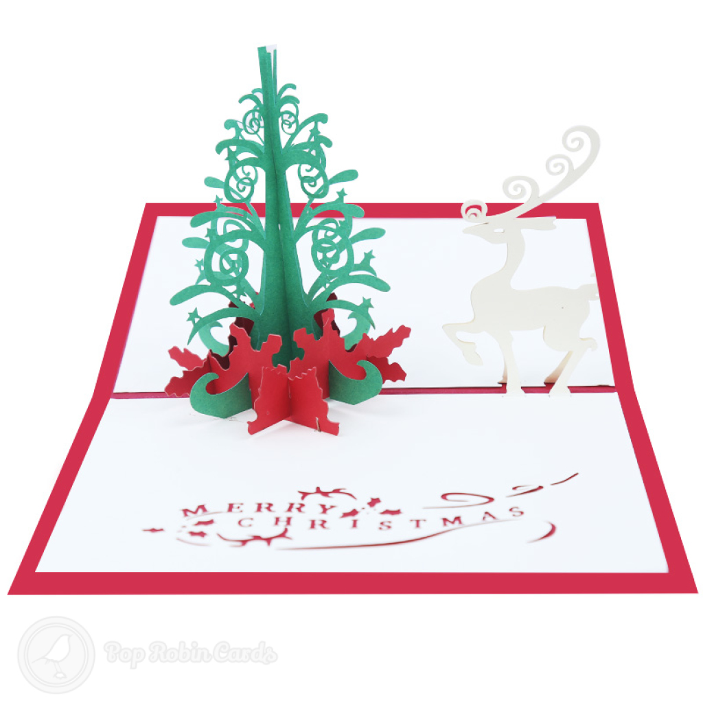 Magic Christmas Tree And White Reindeer3D Pop Up Handmade Card #3516