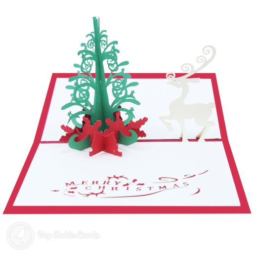 "This special Christmas card opens to reveal a 3D pop up design showing a stylised magical Christmas tree and reindeer. The cover has a stencil design showing a large Christmas tree and a ""Merry Christmas!"" message."
