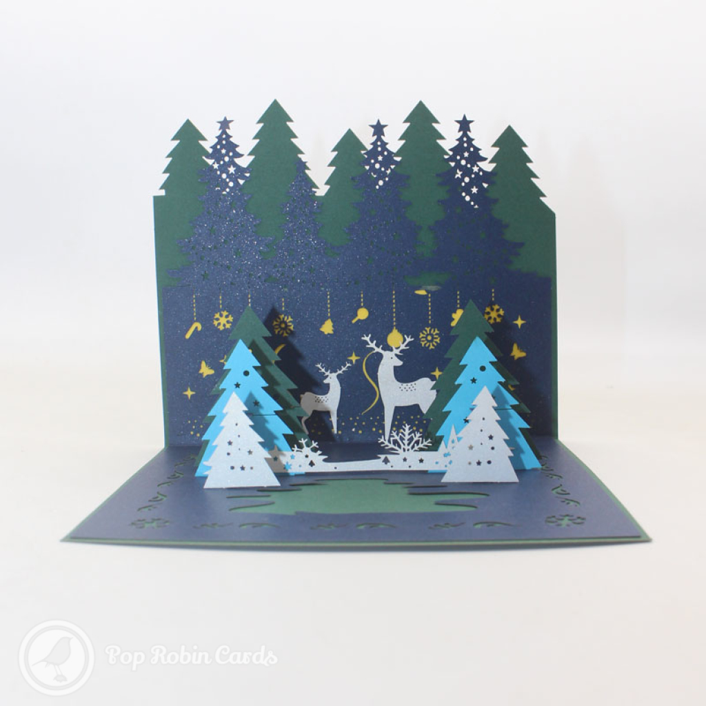 Magical Christmas Forest Handmade 3D Card #3426