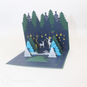 Magical Christmas Forest Handmade 3D Card #3429