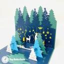 Magical Christmas Forest Handmade 3D Card #3627