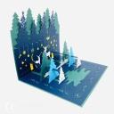 Magical Christmas Forest Handmade 3D Card #3628