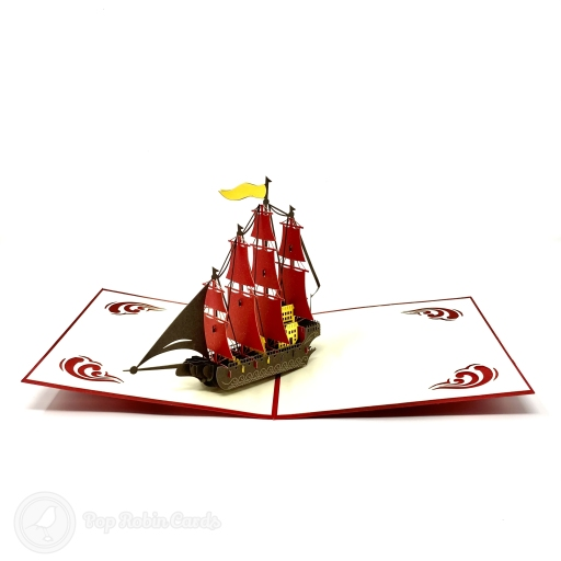 This impressive greetings card has a 3D pop-up design showing a tall galleon sailing ship with many sails unfurled on its four masts. The cover has a stencil design also showing the galleon.