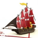 Majestic High Galleon 3D Pop Up Handmade Greeting Card #3741