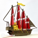 Majestic High Galleon 3D Pop Up Handmade Greeting Card #3744