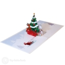 Merry Christmas Prancing Reindeer And Christmas Tree 3D Pop-Up Card #2833