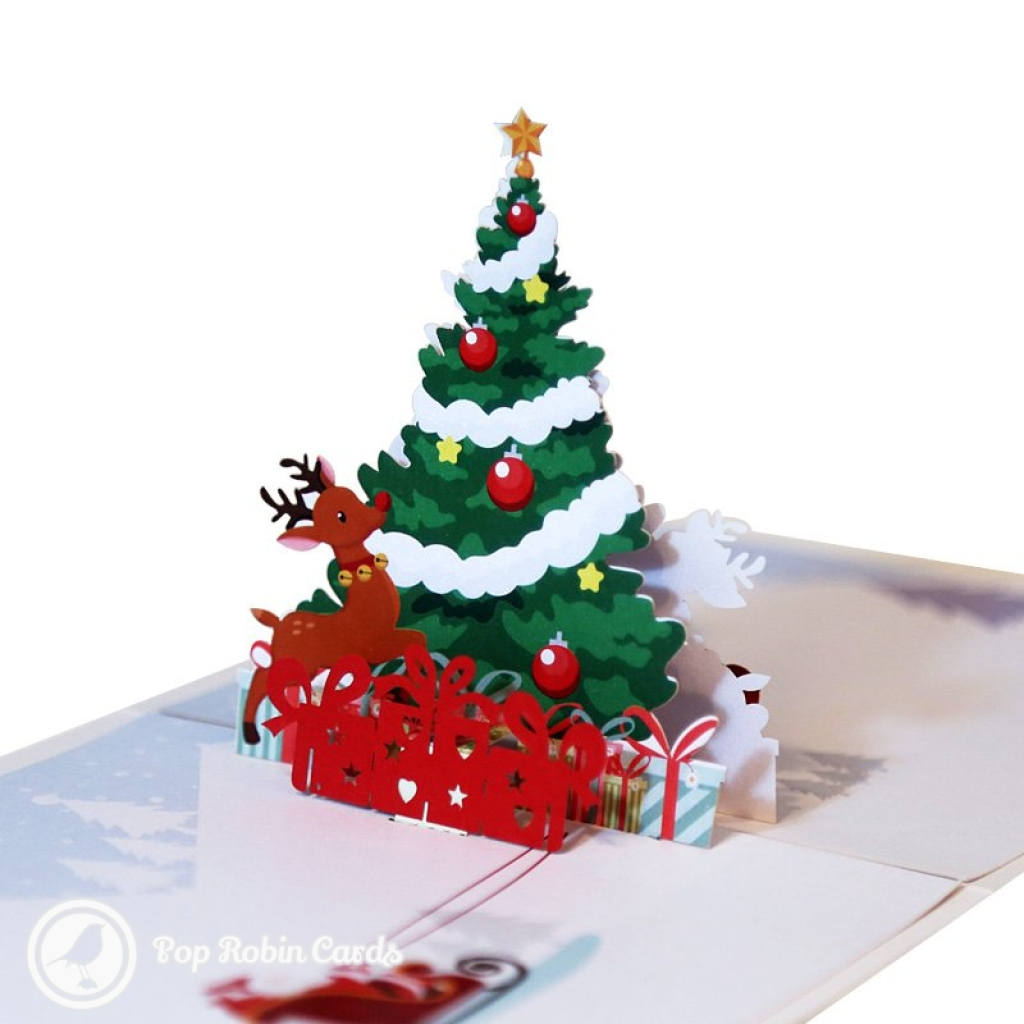 Merry Christmas Prancing Reindeer And Christmas Tree 3D Pop Up Card #2835