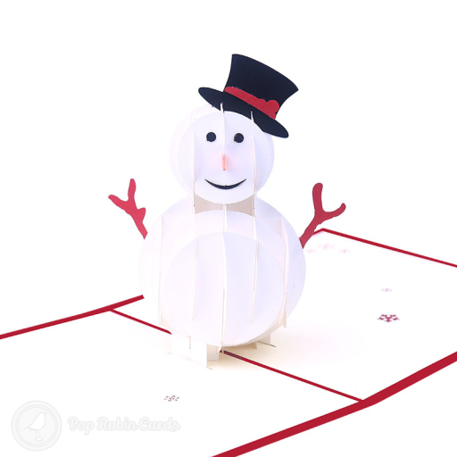 "This jolly Christmas card opens to reveal a 3D pop up design showing a smiling snowman wearing a top hat. The cover has a stencil design showing the snowman and a ""Merry Christmas"" message."