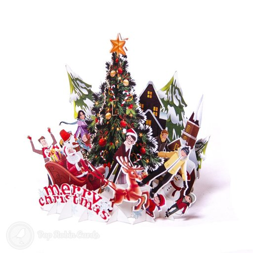 This unusual Christmas card folds flat but pulls open into an amazing 3D pop-up scene showing a brightly decorated Christmas tree surrounded by a family and Father Christmas on his sleigh.