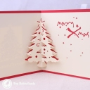 Merry Xmas Cut-Out Christmas Tree 3D Pop-Up Christmas Card #2847