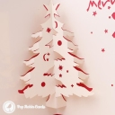 Merry Xmas Cut-Out Christmas Tree 3D Pop-Up Christmas Card #2848