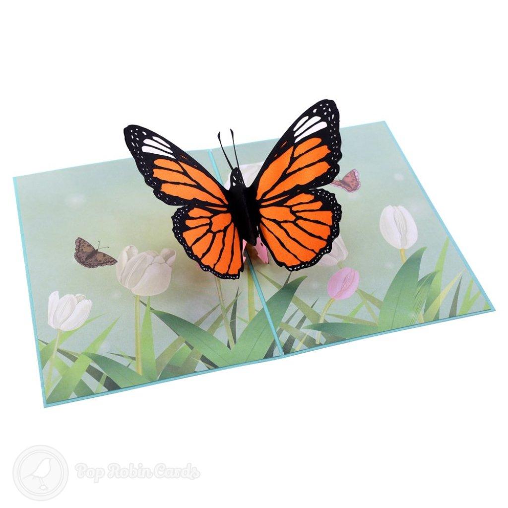 Monarch Butterfly In Meadow Handmade 3D Pop-Up Card #2374