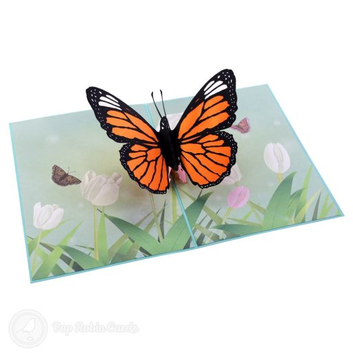 Monarch Butterfly In Meadow Handmade 3D Pop-Up Card #2374