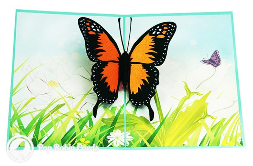 Monarch Butterfly In Meadow Handmade 3D Pop-Up Card #2879
