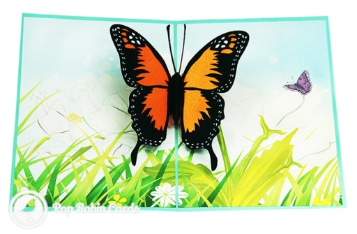 Monarch Butterfly In Meadow Handmade 3D Pop-Up Card #2879