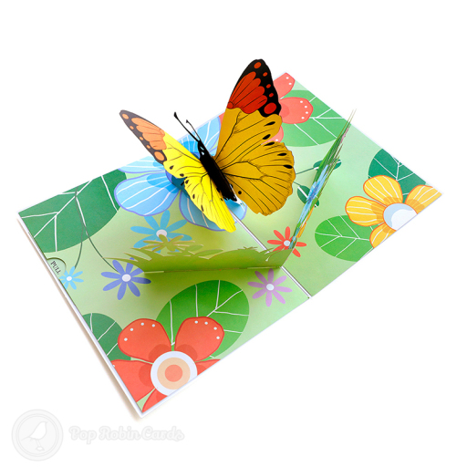 This amazing greetings card opens to reveal a 3D pop up design showing a beautiful monarch butterfly. The inside of the card is decorated with images of a flowery meadow. A presentation envelope with a window is included.
