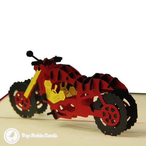 This amazing greetings card opens to reveal a 3D pop-up motorbike in a deep-red colour. The engine details are picked out in yellow, and the motorbike also appears on the cover in a stencil design. This card is sure to impress any biker or motorbike fan.