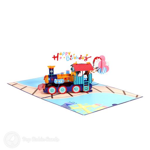 Multi Colour Happy Birthday Train 3D Pop Up Card