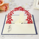 Newly Wed Bride & Groom Under Floral Arch 3D Pop-Up Greeting Card (Blue) 811