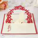 Newly Wed Bride & Groom Under Floral Arch 3D Pop-Up Greeting Card (Red) 812