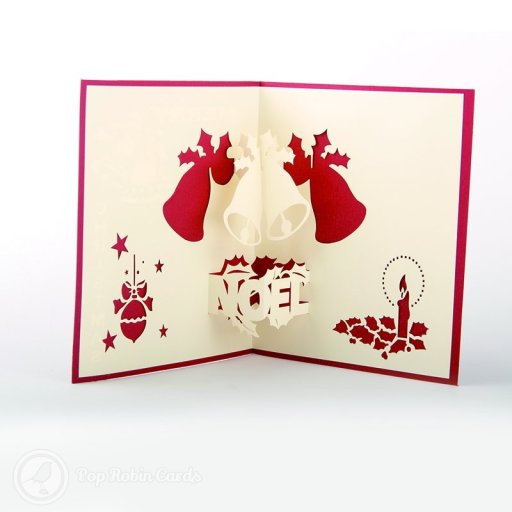 "This Christmas card opens to reveal an array of festive symbols: 3D pop-out Christmas bells with mistletoe, a ""Noël"" motif, a bauble and a candle."