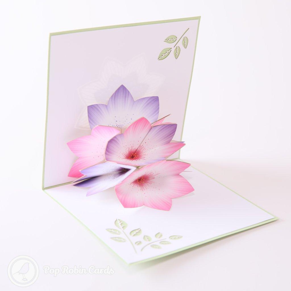 Pastel Crocus Flowers 3D Handmade Pop-Up Card #2152