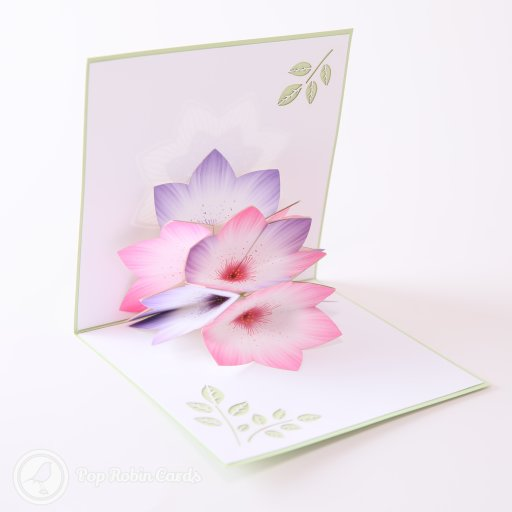 This beautiful card opens to reveal a burst of crocus flowers in gorgeous pastel pinks and purples. Stencilled leaves appear to each side, and the cover shows a stylish floral stencil design.