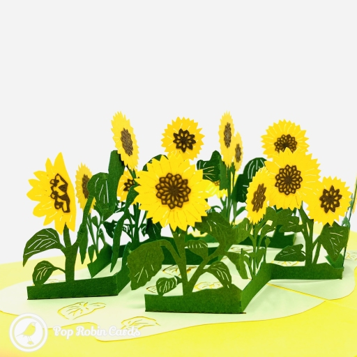 This bright and cheerful greetings card is suitable for many occasions with its colourful 3D pop up design showing a patch of vivid yellow sunflowers with vibrant green stems and leaves. The cover has an embossed gold design showing a sunflower.