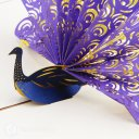 Peacock 3D Pop-Up Greetings Card (Purple) 1721