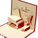 Piano 3D Pop-Up Birthday Card  (Red) 1465