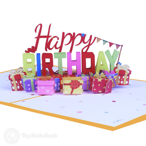 Pile of Presents Happy Birthday 3D Pop-up Card