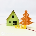 Pine Tree & Snow Lodge Handmade 3D Pop Up Card #3670