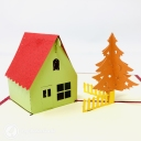 Pine Tree & Snow Lodge Handmade 3D Pop Up Card #3671