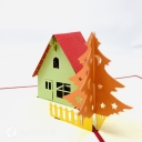 Pine Tree & Snow Lodge Handmade 3D Pop Up Card #3673