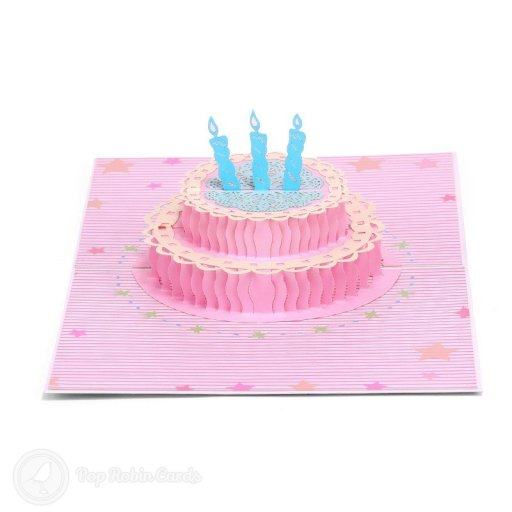 "This cute birthday card has a 3D pop up design showing a bright pink birthday cake with blue candles. The cover has a colourful design showing a birthday cake and a ""Happy Birthday"" message."