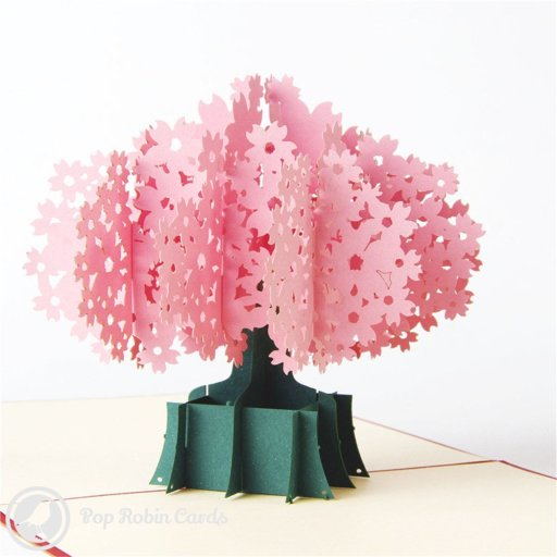 This beautiful greetings card opens to reveal a 3D pop-up design showing a tree brimming with soft pink blossom. There is a choice of a red stencil design or water-colour picture for the cover.