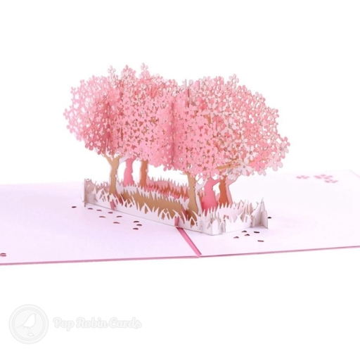 Pink Blossom Trees In Field 3D Pop-Up Card #2808