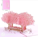 Pink Blossom Trees In Field 3D Pop-Up Card #2809
