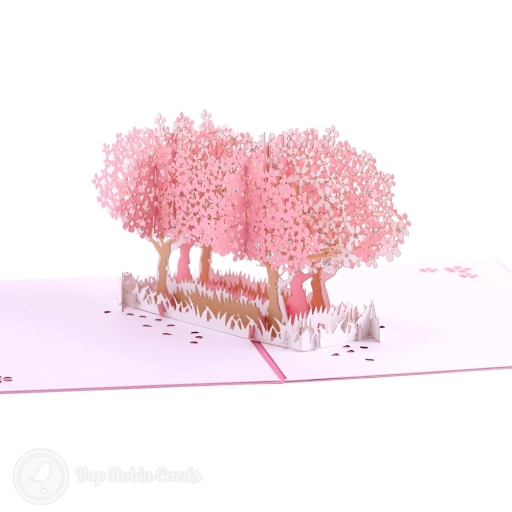 This pretty card opens to reveal a 3D pop-up design showing two trees with pink blossom in a field. The cover also has a blossoming tree stencil design.