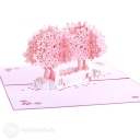 Pink Blossom Trees In Field 3D Pop-Up Card #2826