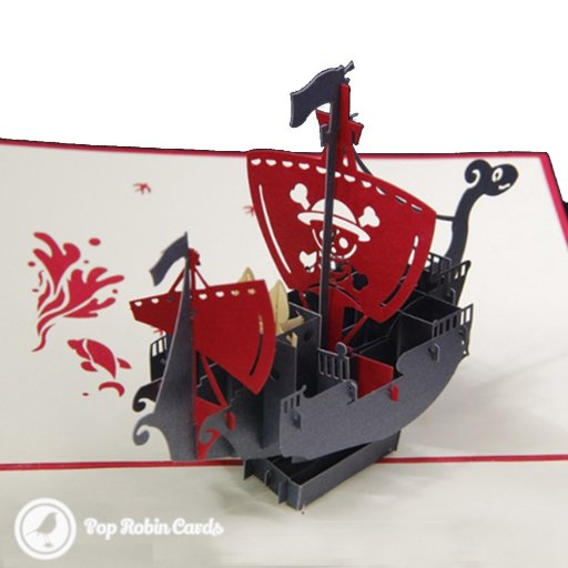 This exciting greetings card opens to reveal a 3D pop-up pirate ship design, complete with skull and crossbones on the main sail.