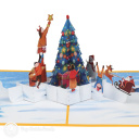Placing Star On Christmas Tree 3D Pop Up Card #3909