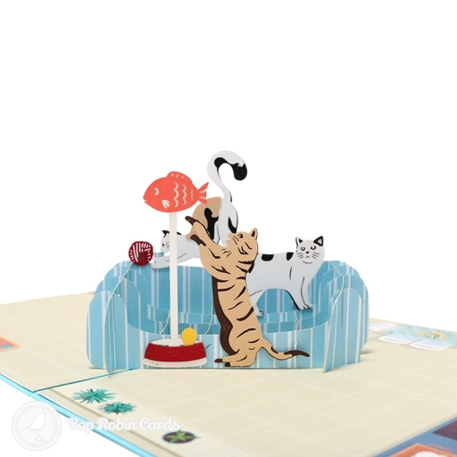 This cute greetings card is great for all sorts of occasions with its fun 3D pop up design showing a group of cats playing together. The cover has a stencil design also showing the playful cats.