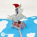 Prancing Unicorn With Christmas Hat In Clouds Handmade 3D Pop Up Card #3708