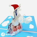 Prancing Unicorn With Christmas Hat In Clouds Handmade 3D Pop Up Card #3711